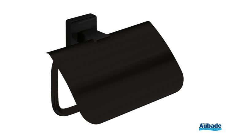 Dérouleur papier toilette en rouleau avec couvercle finition noir mat de la gamme Cubo par Inda