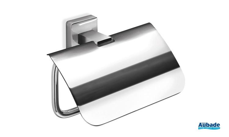 Dérouleur papier toilette avec couvercle finition chromée Cubo par Inda