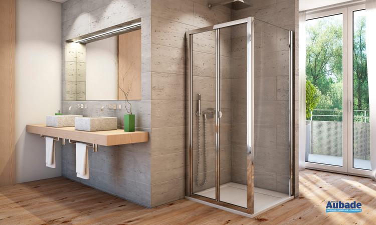 Paroi de douche avec porte repliable SanSwiss AUOK - AUPF