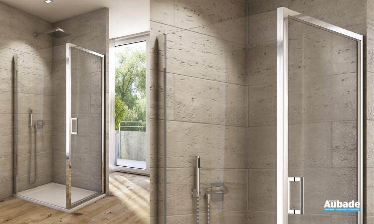 Paroi de douche avec porte pivotante et paroi fixe de SanSwiss AUPP + AUPF