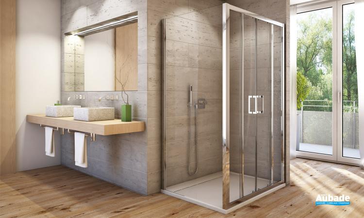Paroi de douche avec porte coulissante 4 volets SanSwiss AUPS4 + AUPF