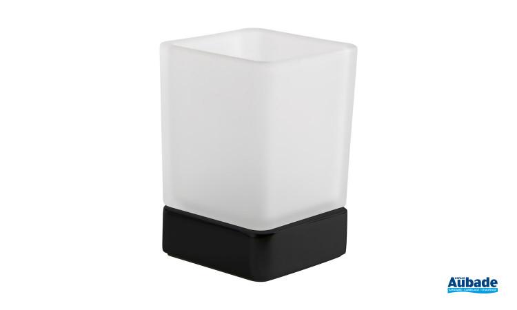Porte verre à poser Cubo de Inda, support noir mat et verre satiné, sobre, tendance