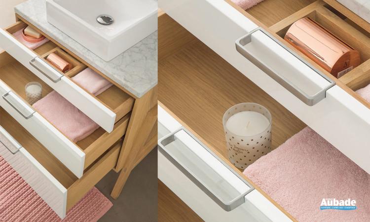 Meuble salle de bain Structure Chêne tiroirs ouverts