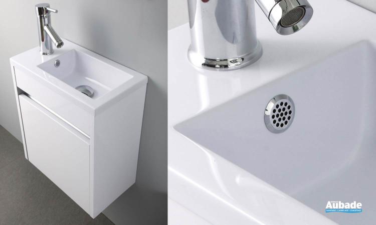 Plan vasque et meuble bas Abyss en blanc brillant