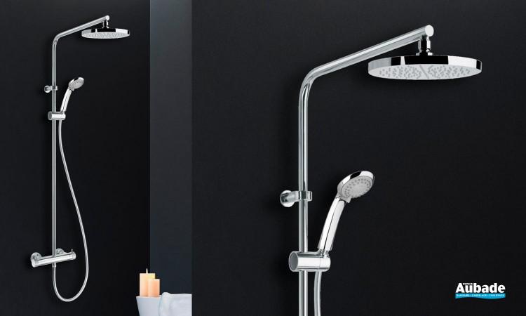 Colonne de douche avec douche de tête et douchette Eco Ronde coloris chromé de la marque Paini France