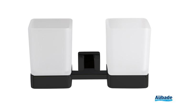 Double porte-verres noir mat Cubo de Inda