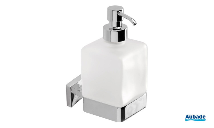 Distributeur de savon liquide chromé à fixer Cubo de la marque Inda