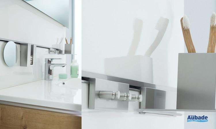 Table en marbre de synthèse vasque blanc brillant