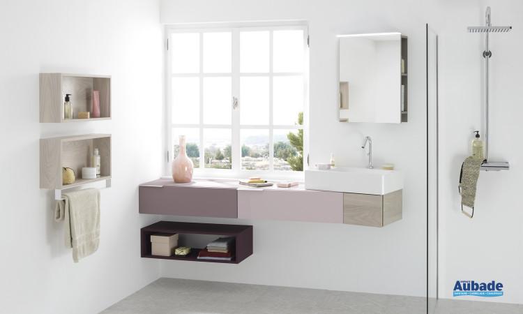 Meuble coloris laqué rose pâle et mélaminé champagne, avec miroir étagère