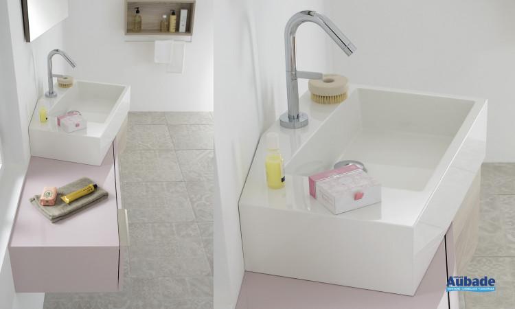 Vasque en marbre de synthèse blanc brillant