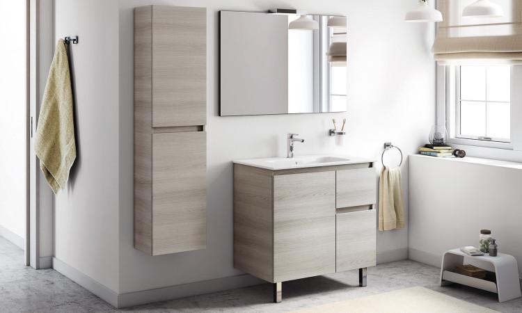 Meuble coloris gris sable texturé, avec lavabo, miroir et applique