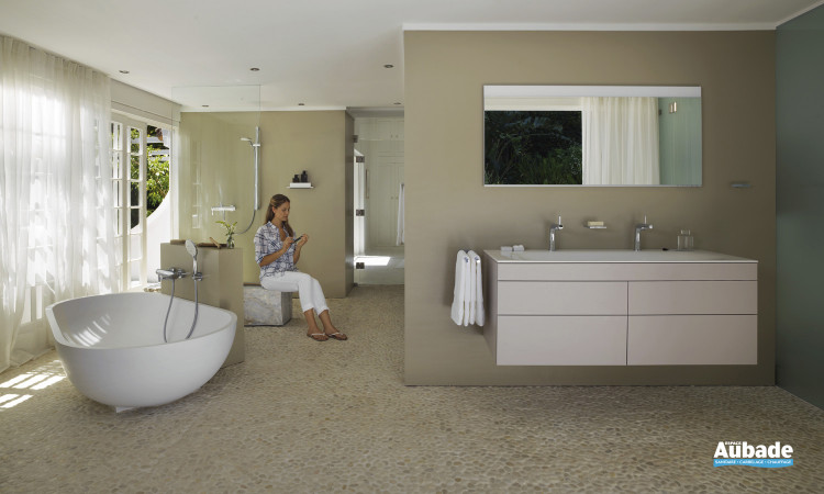 Meuble de salle de bain Edition 400 laqué structuré cachemire de Keuco