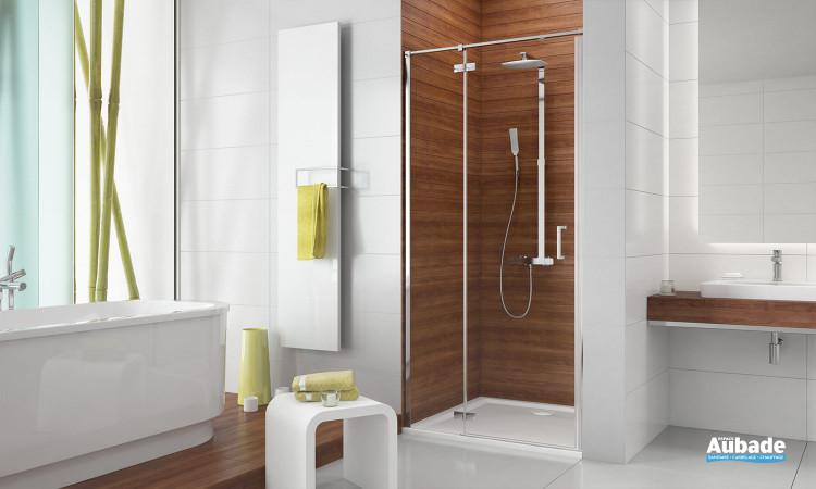 Paroi de douche porte pivotante et partie fixe en ligne Frisbee de Leda