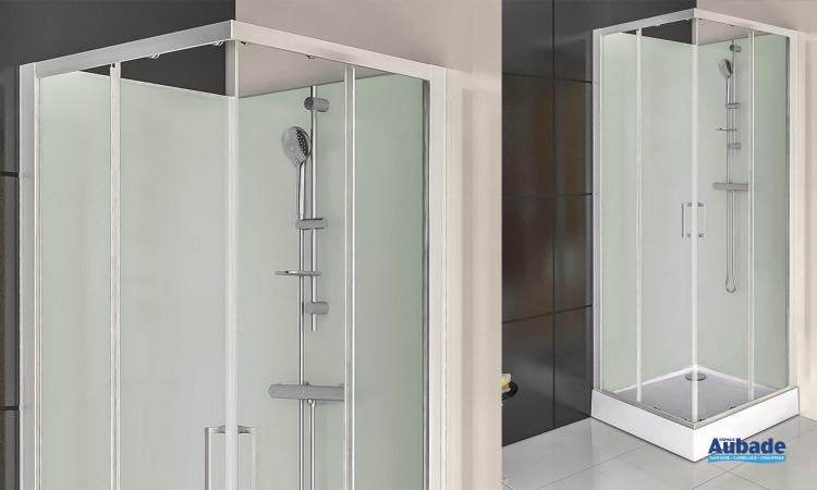 Cabine de douche complète Corail 1 de Leda avec forme carré pour petits espaces