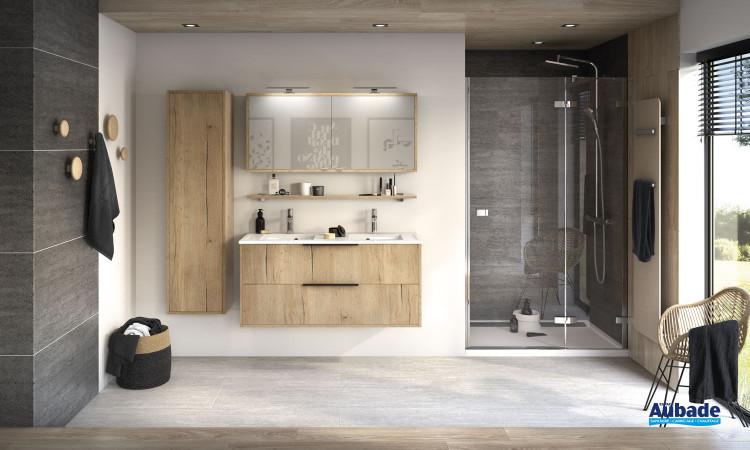 Meuble Ultra Cadra largeur 120 cm avec 2 coulissants finition Chêne brut structuré et corps de meuble Chêne brut structuré de Delpha