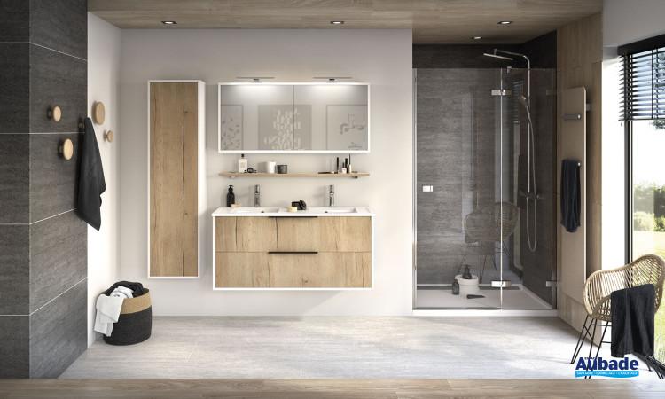 Meuble Ultra Cadra largeur 120 cm avec 2 coulissants finition Chêne brut structuré et corps de meuble Blanc brillant de Delpha