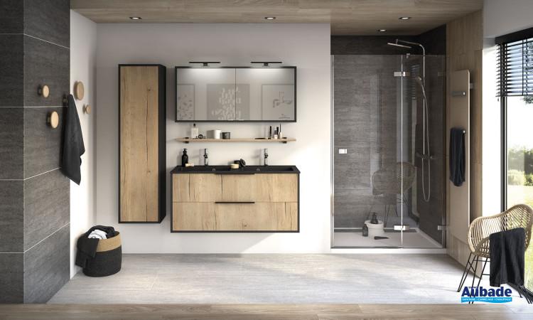 Meuble Ultra Cadra largeur 120 cm avec 2 coulissants finition Chêne brut structuré et corps de meuble Noir mat de Delpha
