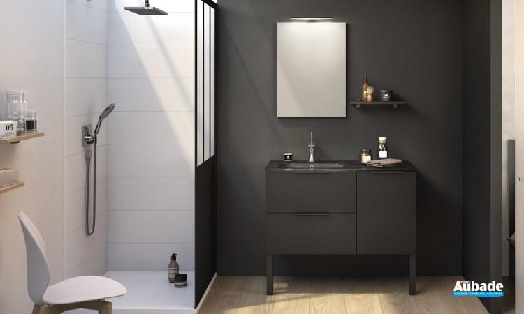 Meuble de salle de bains Kami largeur 100 cm coloris Noir verni mat de la marque Delpha