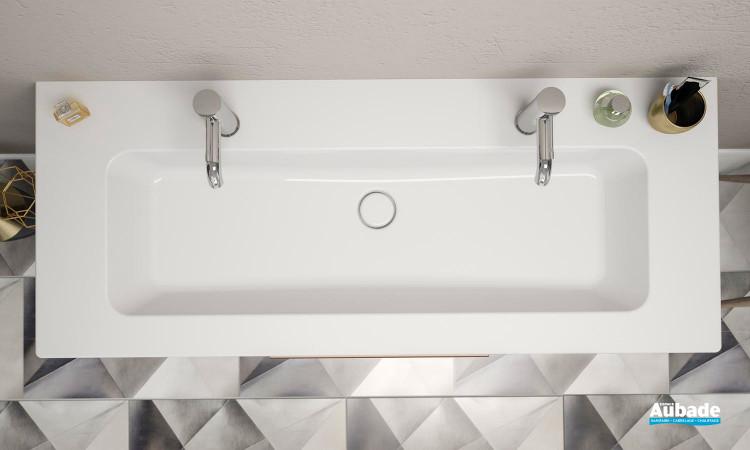 Plan vasque avec 2 trous de robinetterie de la gamme Passion par Burgbad