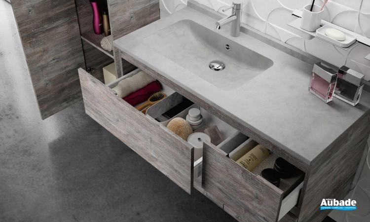 Meubles de salle de bains avec 4 tiroirs Rialto coloris Bosco et plan Tadelakt de Ambiance Bain