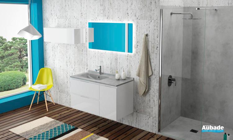 Meubles de salle de bains avec 2 tiroirs et 1 porte Rialto coloris Blanc brillant et plan Tadelakt de Ambiance Bain