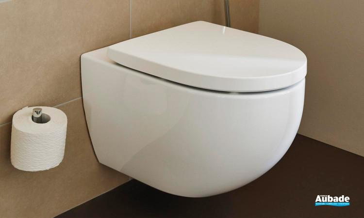 Pack WC suspendu rond Derby Style avec abattant à recouvrement frein de chute de la marque Vigour