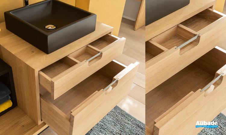 Détails des tiroirs du meuble Brick de Line Art
