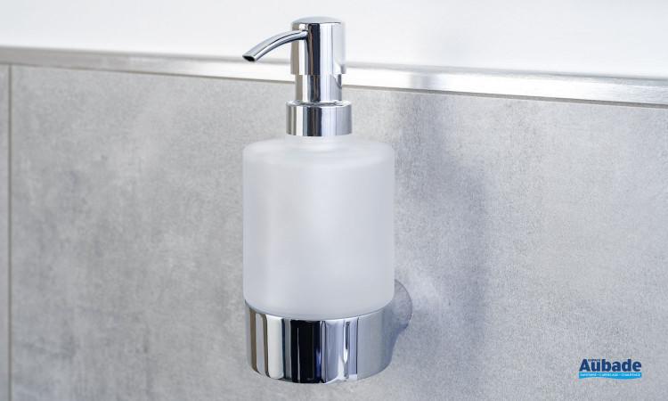 Porte-distributeur de savon Clivia en finition chromé et verre satiné à fixer au mur de la marque Vigour