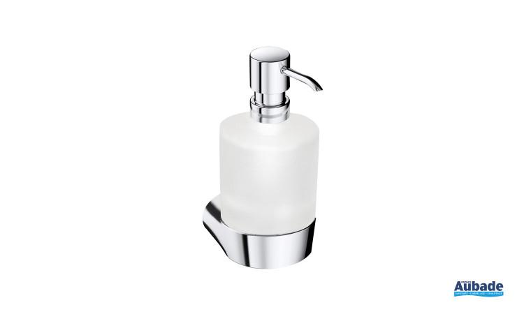 Porte-distributeur de savon liquide Clivia de la marque Vigour en finition chromé et en verre satiné