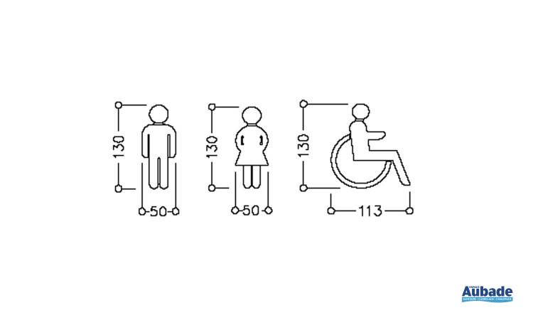Pictogramme WC Normbau pour femmes, hommes ou personnes handicapées