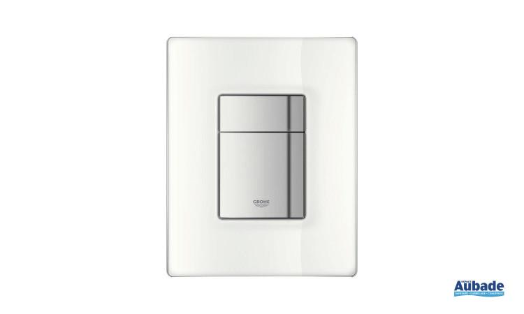 Plaque de commande wc en verre blanc Skate Cosmopolitan de Grohe