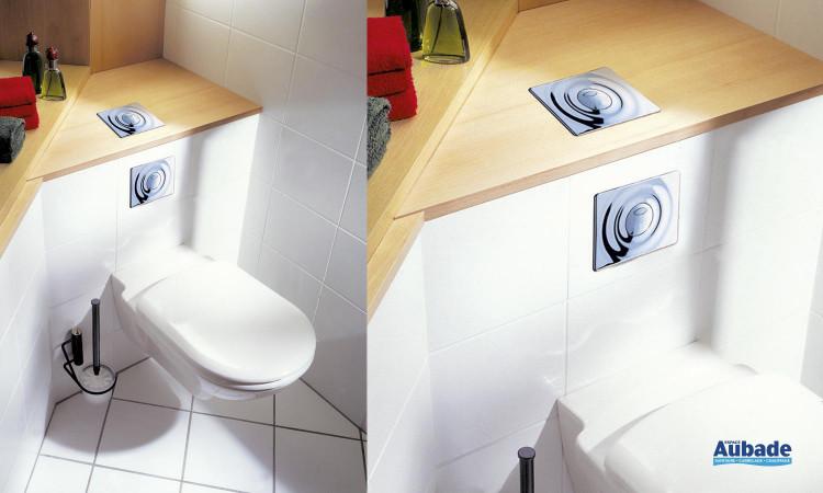 Solution contrainte de place. 2 possibilités: commande sur le dessus ou commande frontale universelle Rapid SL WC de Grohe