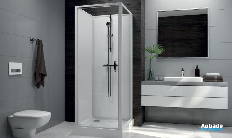 Cabines de douche intégrales Leda Sélection Aubade verre d'angle 80 x 80 cm
