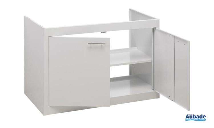 Meuble Clipmétal color de Moderna avec un caisson blanc, portes couleur, 1 étagère, poignées inox
