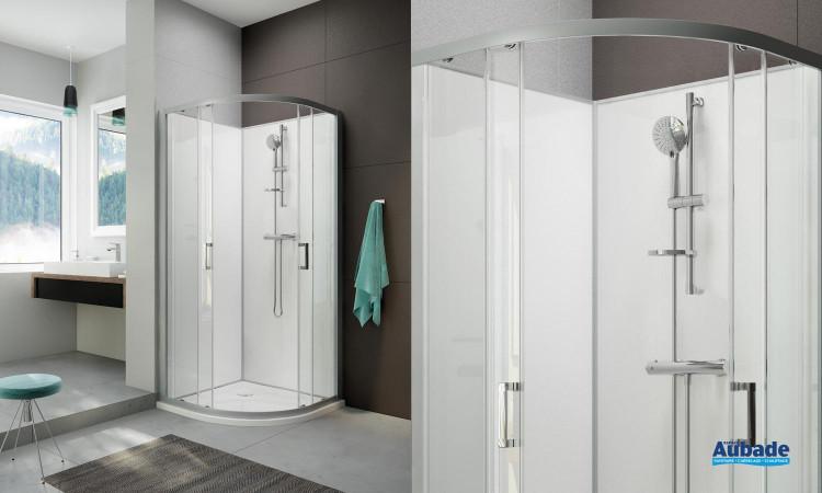 Cabine de douche intégrale Moorea 1/4 de rond coulissant version Confort par Hoesch by Leda