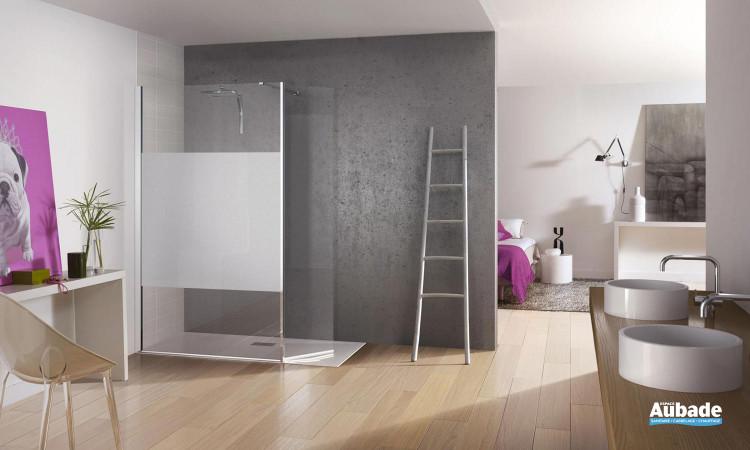 paroi de douche avec verre 200 mm en hauteur élégante Kinedo Kinespace ouvert