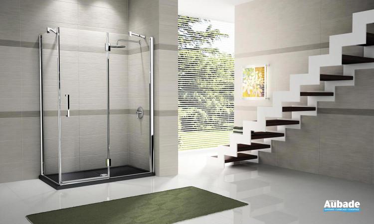 Paroi de douche avec verre CRYSTAL CLEAR transparent Novellini Louvre 2P