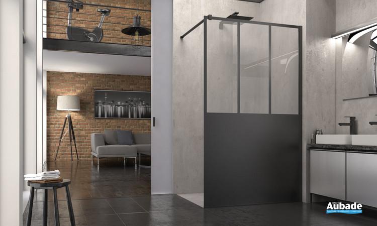 Paroi fixe Walk-in sérigraphiée Atelier Noir mat par SanSwiss