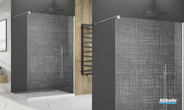 Paroi de douche fixe sérigraphiée chromé Cromalin de la marque SanSwiss