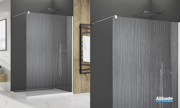 Paroi de douche sérigraphiée chromé Fil d'eau traité anti-traces de la marque SanSwiss