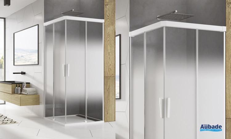 Paroi accès d'angle coulissant Ophalys finition profilé blanc mat et verre shade