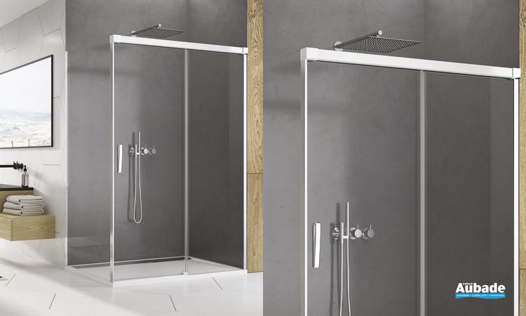 Paroi de douche coulissante Ophalys finition profilé poli brillant et verre transparent par SanSwiss