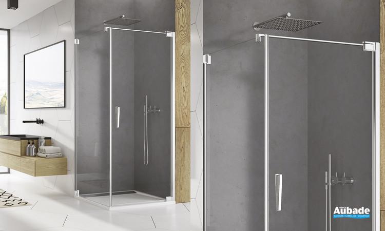 Paroi de douche pivotante Ophalys avec profilé poli brillant et verre transparent de la marque SanSwiss