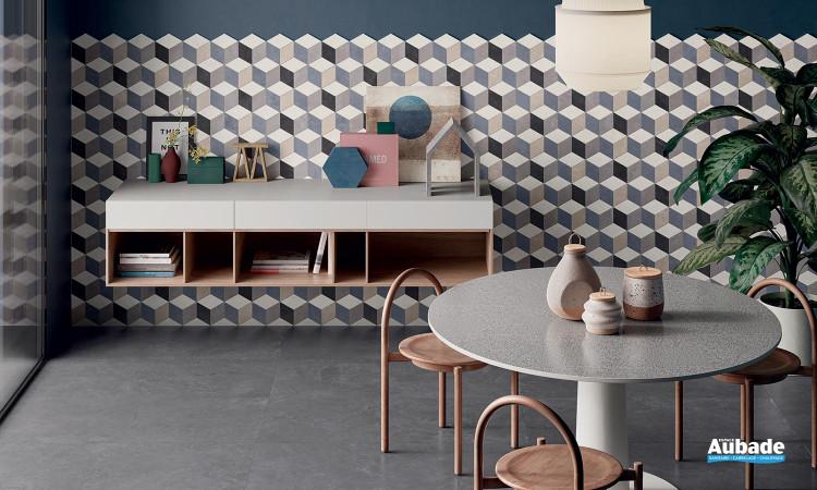 Collection Totalook par Emil Ceramica en coloris Antracite et décor Sagoma