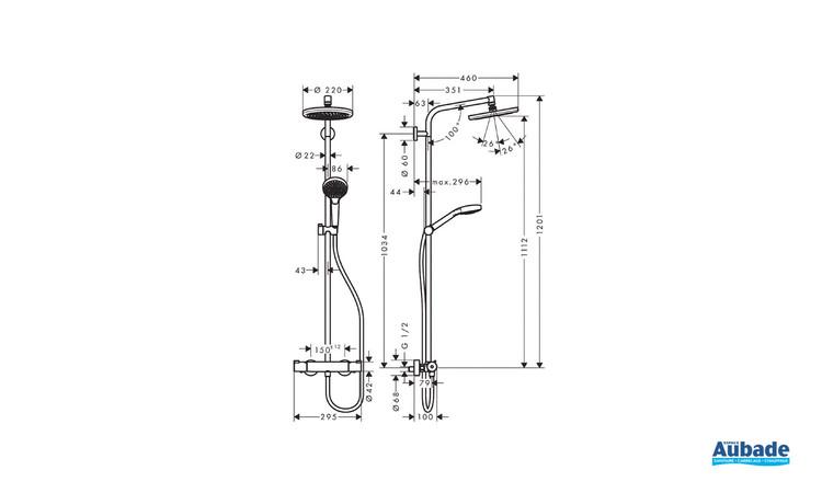 Colonne de douche 220 avec mitigeur thermostatique Chrome Hansgrohe - Schéma technique