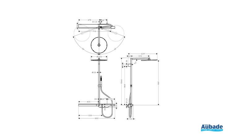Colonne de douche thermostatique 800 Chrome Axor - Schéma technique