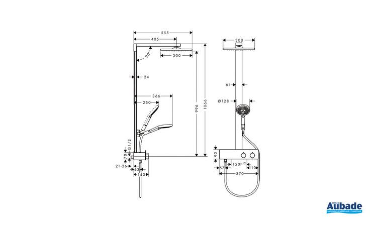 Colonne de douche Raindance E mitigeur thermostatique Chrome Hansgrohe - Schéma technique