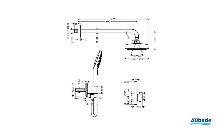 Ensemble encastré Raindance Select E mitigeur thermostatique Chrome - Schéma technique