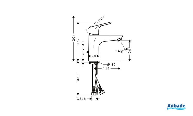 Robinet de lavabo Focus 100 Chrome Hansgrohe - Schéma technique