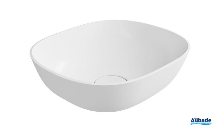 Vasque à poser Marine en minéral composite blanc brillant par Aubade Création